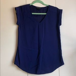 Express blue cap sleeve blouse